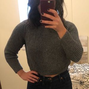 American Apparel Cropped Sweater - Grey
